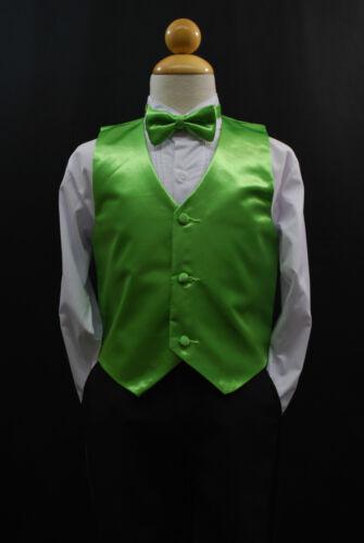 BOW TIE //LONG NECK TIE Boy Suit /& Tuxedo Sz S-28 Children LIME GREEN VEST