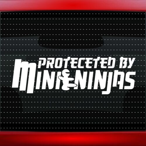 20 COLORS! Protected By Mini Ninjas Funny Cute Car Decal Window Sticker JDM