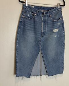 Levis Button Fly Waterless  SZ 29 Deconstructed Denim Skirt pencil slit Raw hem