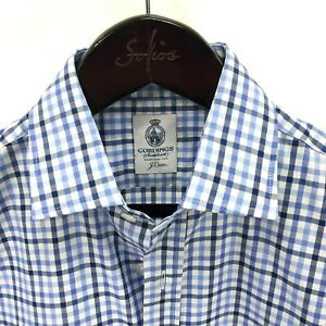 CORDINGS-x-J-CREW-Men-039-s-M-Gingham-Check-Spread-Collar-Blue-White-Shirt-NEW