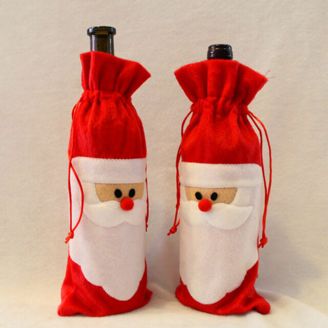 santa claus outfit christmas wine bottle bag cover xmas gift table decorations - Christmas Wine Bottle Decorations
