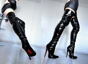 CQ-COUTURE-OVERKNEE-HIGH-HEEL-BOOTS-STIEFEL-STIVALI-PATENT-LEATHER-BLACK-NERO-36