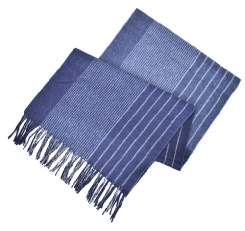 Brooks Brothers Mens Navy Blue and Blue Striped Cashmere Rectangle Scarf 8217-2