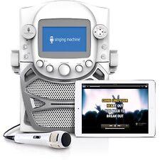 Singing Machine CD G Karaoke Bluetooth System Microphone Portable Monitor White