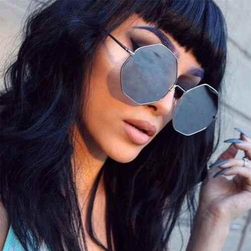 Groß Überdimensional Modische Sonnenbrille Achteck Metallrahmen