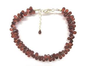 Granat-facettiert-Tropfen-Armband-18-5-21-cm-925-Silber-Garnet-Bracelet-4730