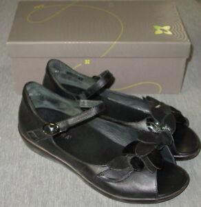 Ziera-Dizzy-Flower-Heeled-Sandals-41-Wide-Women-039-s-Black-Leather-Suede-Worn-2X