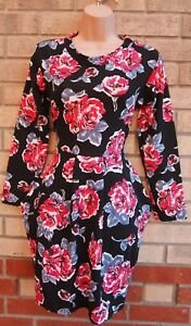 MISS-Negro-Rosa-Azul-Rosas-Floral-LOOK-manga-larga-vestido-de-te-de-tulipan-una-linea-S-M