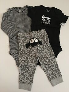 Carters Baby Boy Bodysuit Pants Set Size 6 9 12 18 24 Months Blak Grey Car Mommy Ebay