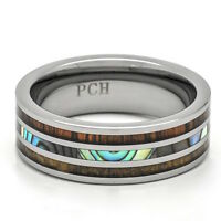 Deer Antler Tungsten Wedding Ring With Koa Wood And Abalone Comfort Fit Ring
