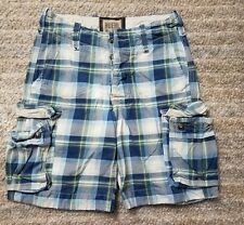 RUEHL NO925 ABERCROMBIE & FITCH RARE 30 heavy plaid SHORTS DISTRESSED Excellent