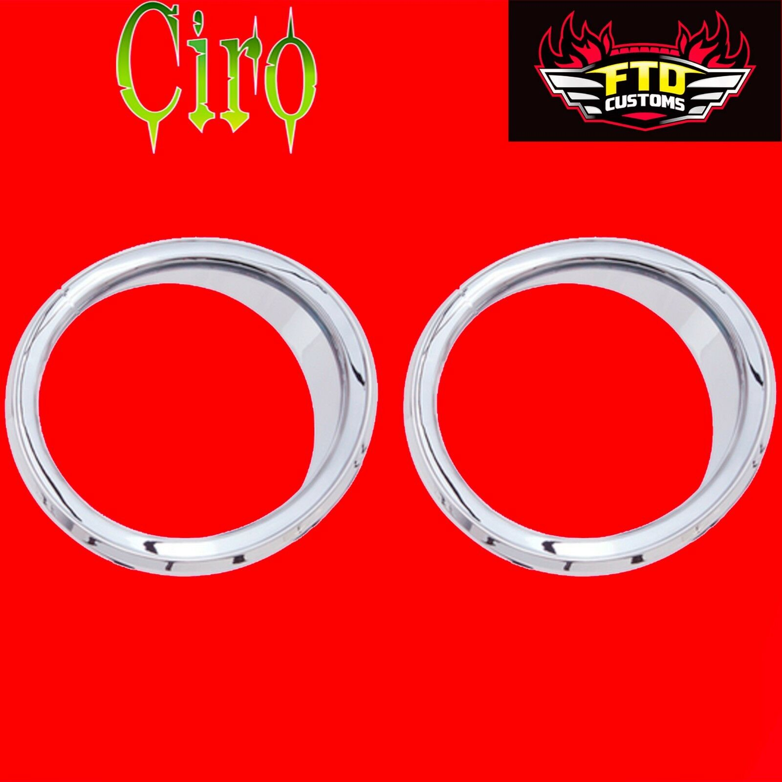 Motorcycle Accessories Vehicle Parts & Accessories Ciro Chrome LED Front Speaker Bezels Accents for Harley Batwing FLH/T 14-16