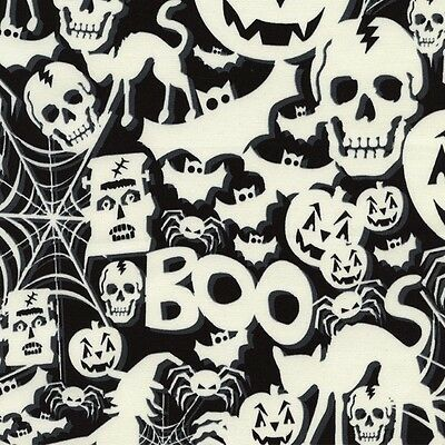 Skeletons Glow in the Dark Cotton Multiple Sizes Timeless Treasures Fabric