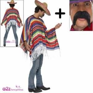 Hat Mexican Poncho Tash  Mens Fancy Dress Wild Western Bandit Adults Costume