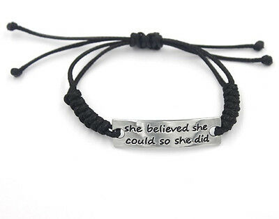 Women Men Black Artificial braided leather cord Handmade Cuff Wristband Bracelet