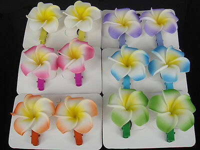 12 Pcs 6 Color Hawaiian Plumeria Flower Foam Hair Clip Hair Pins Hair Accessory