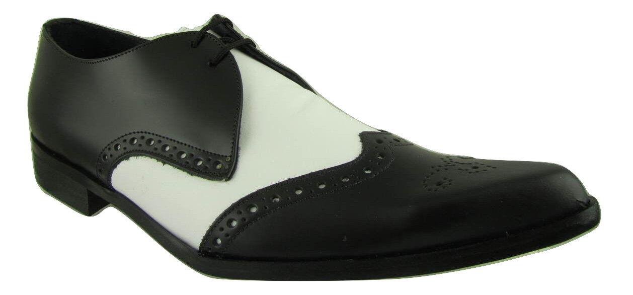 Retro Bugsy Para hombres Zapatos Selector De Winkle blancooo Negro Cuero Con Cordones Clásico Estilo