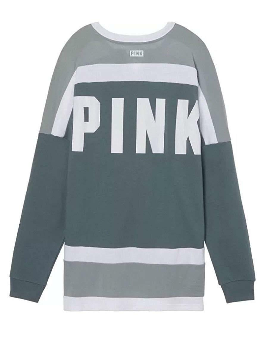 Victoria's Secret Pink Pink Pink NEW Oversize Lace Up Varsity Crew color Green XSmall NWT 70c38e