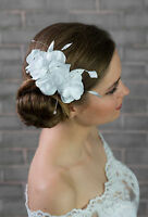 Bridal Wedding Ivory Or White Satin Rose Flower Corsage Hair Comb
