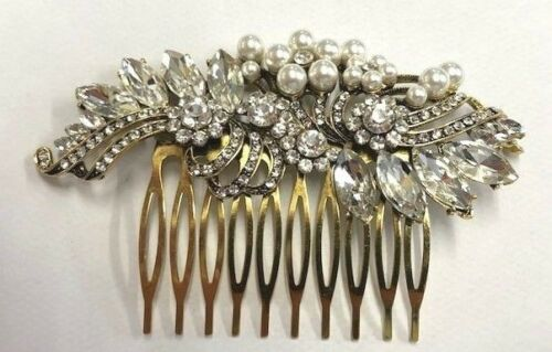 Simply Beautiful Finest Vintage Style Crystal Antique Gold Hair Comb UK.