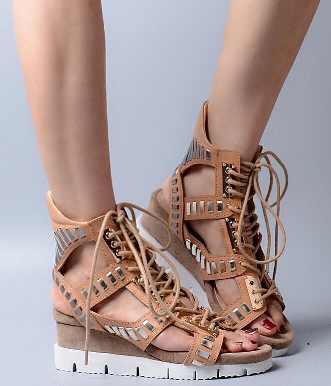 Para mujeres con Tacón de Cuña Plataforma De Cuero Real Zapatos Sandalias romano Gladiador año hueco