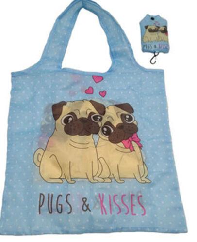 Pugs /& Kisses Cute Pug Dog Foldable Shopping Bag with Pouch Pocket //Handbag Size