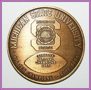 Details About Michigan State Msu 1965 1966 National Champions Championship Coin Football Rare