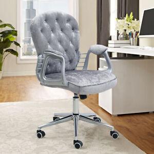 Velvet Office Chair Swivel Adjustable Tufted Back Computer
