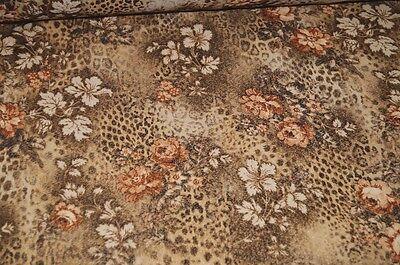 italienischer Jersey Stoff braun Blumen Leo Leopard Meterware #0123