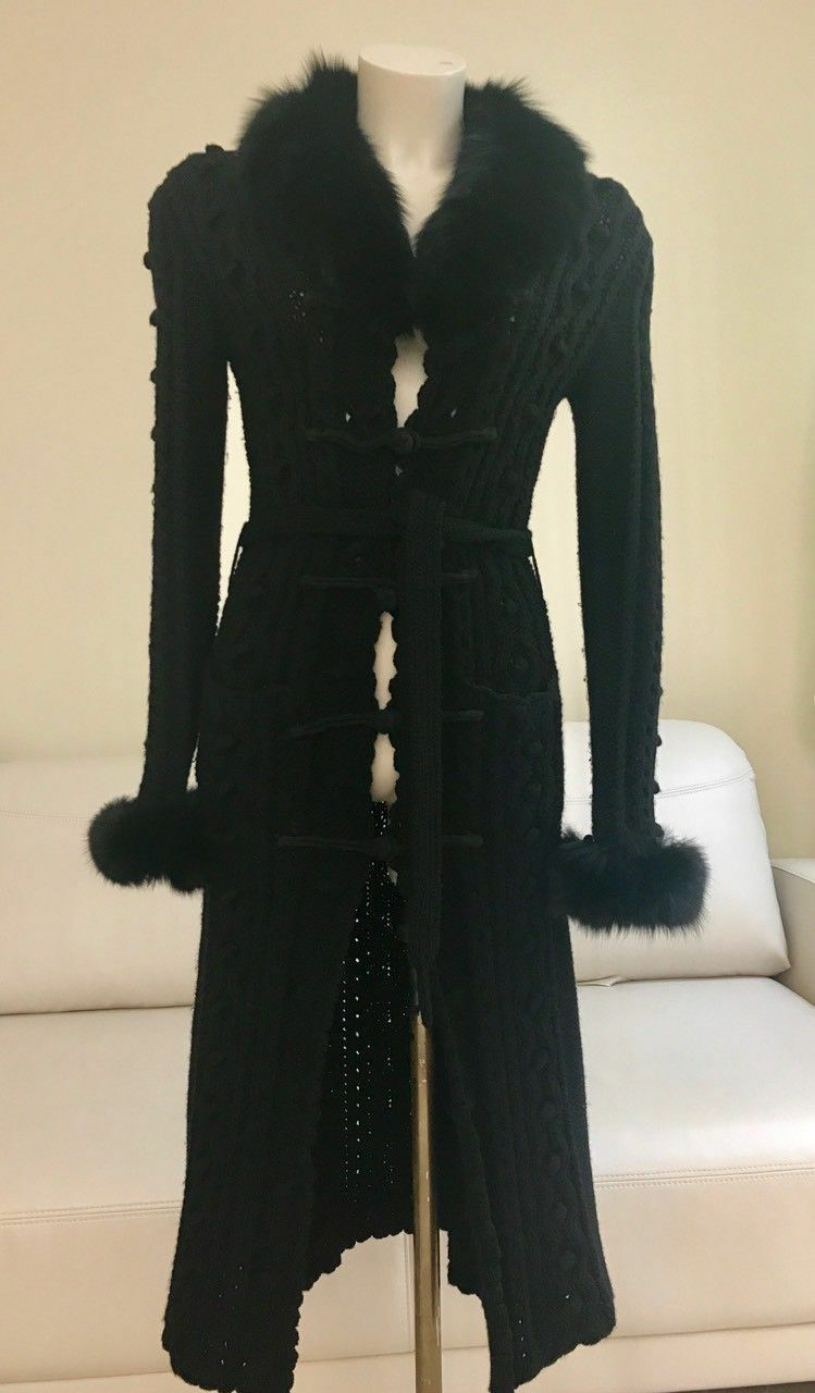 Knitted long cardigan with real fox fur SIZE 12 S-M