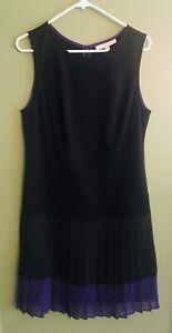 Ann Taylor Loft Womens Size 12 Black Purple Sleeveless