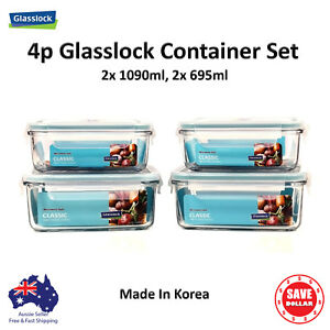 Glasslock-4p-Set-Tempered-Glass-Food-Container-Storage-Microwave-Safe-BPA-FREE
