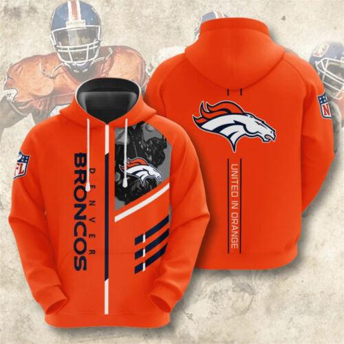 Denver Broncos Hoodie Football Hooded Sweatshirt Pullover Casual Jacket Gift