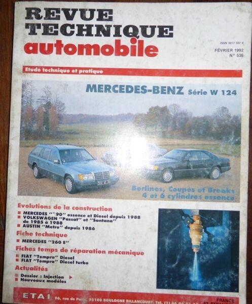 Ijverig Revue Technique Mercedes W 124 4 Et 6 Cylindres Essence Rta N° 536 1992