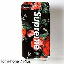Supreme Matte Black Floral Hard Case Cover for iPhone 7 Plus