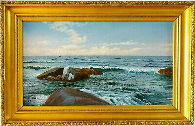 Zielstrebig Hj Grahn Seestück Meerkuste Antike Ölgemälde Maritimer Kunst Schöneswerk Um 1920