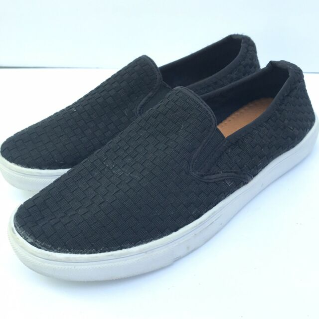 Bernie Mev Slip On Black Woven Sneakers Shoes Womens Sz 39 US 8,5