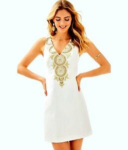 NWT LILLY PULITZER EMERY SHIFT RESORT WHITE BAREFOOT PRINCESS 2,4,6 GOLD METALLI