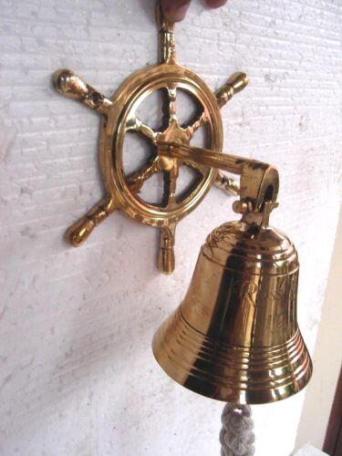 Nautical Marine Navy Brass Wheel Wall Hanging Ship Bell Ross london New Art Dec