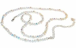 WHITE-Pearl-amp-CLEAR-AB-Crystal-Necklace-Sterling-Silver-Swarovski-Elements