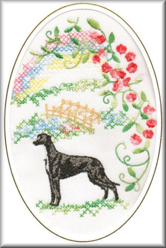 Greyhound Rainbow Bridge Card Embroidered by Dogmania