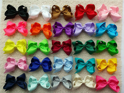 """25 PCS 5"""" Baby Girl toddlers  Boutique Hair Bows Clips Grosgrain Ribbon Flower P"""