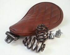 Solo Seat Brown Leather Kit Springs & Bracket Heavy Duty Harley Chopper Bobber