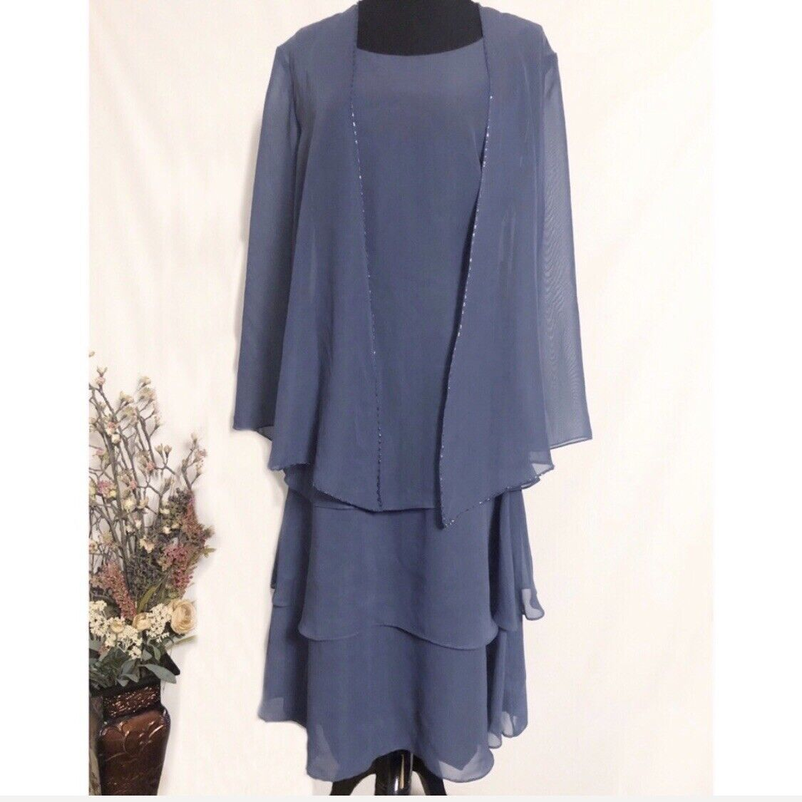 JJ's House Formal Dress and Jacket Smoky Blue