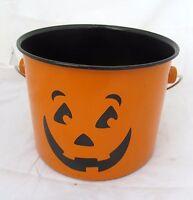 Halloween Party Pumpkin Jack O Lantern Metal Pail Bucket Kitchen Pot Home Decor