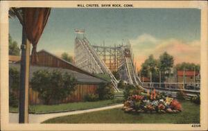 Savin-Rock-CT-Mill-Chutes-Roller-Coaster-Linen-Postcard