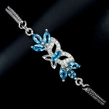 ELEGANT NATURAL TOP LONDON BLUE TOPAZ-WHITE CZ STERLING 925 SILVER BRACELET 7.5