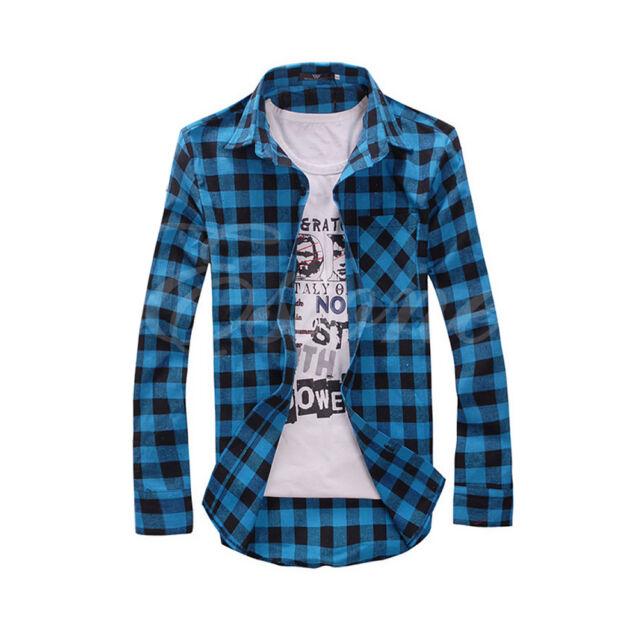 Mens Slim Fit Casual & Dress Plaid Check Shirt Korean Style Blue Red Black New