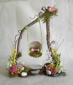 Fairy Garden Doll House Miniature TWIG & SHELL SWING & FLOWERS, BIRD for SPRING