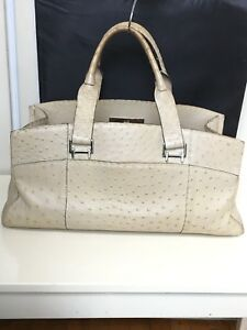 8dcb89ef080 Image is loading VBH-VIA-FIRST-EDITION-OSTRICH-LEATHER-BEIGE-SATCHEL-